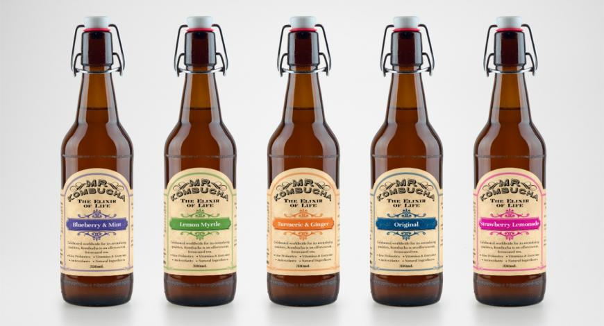 Kombucha Drink Range Label Design